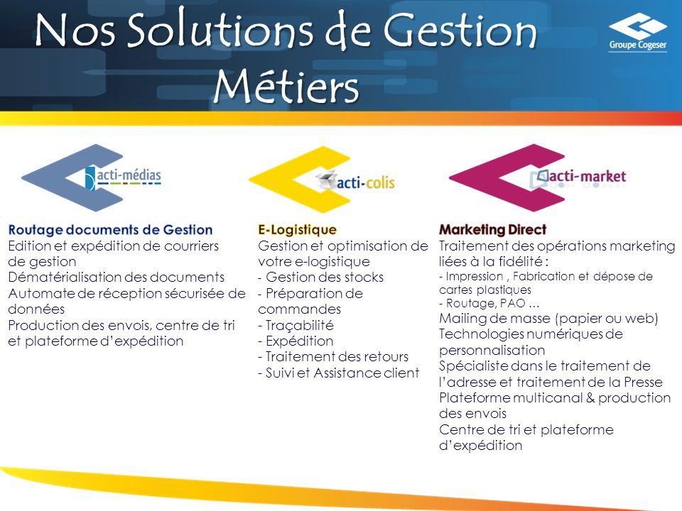 Nos Solutions de Gestion Métiers