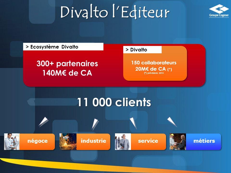 17 11 000 clients Divalto lEditeur 200+ partenaires 1300+ acteurs 130M de CA > Divalto 150 collaborateurs 20M de CA (*) (*) prévisions 2013 300+ partenaires 140M de CA > Ecosystème Divalto métiersnégoceindustrieservice