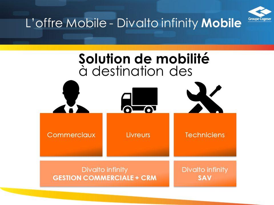 Loffre Mobile - Divalto infinity Mobile Solution de mobilité à destination des Commerciaux Livreurs Techniciens Divalto infinity GESTION COMMERCIALE + CRM Divalto infinity GESTION COMMERCIALE + CRM Divalto infinity SAV Divalto infinity SAV