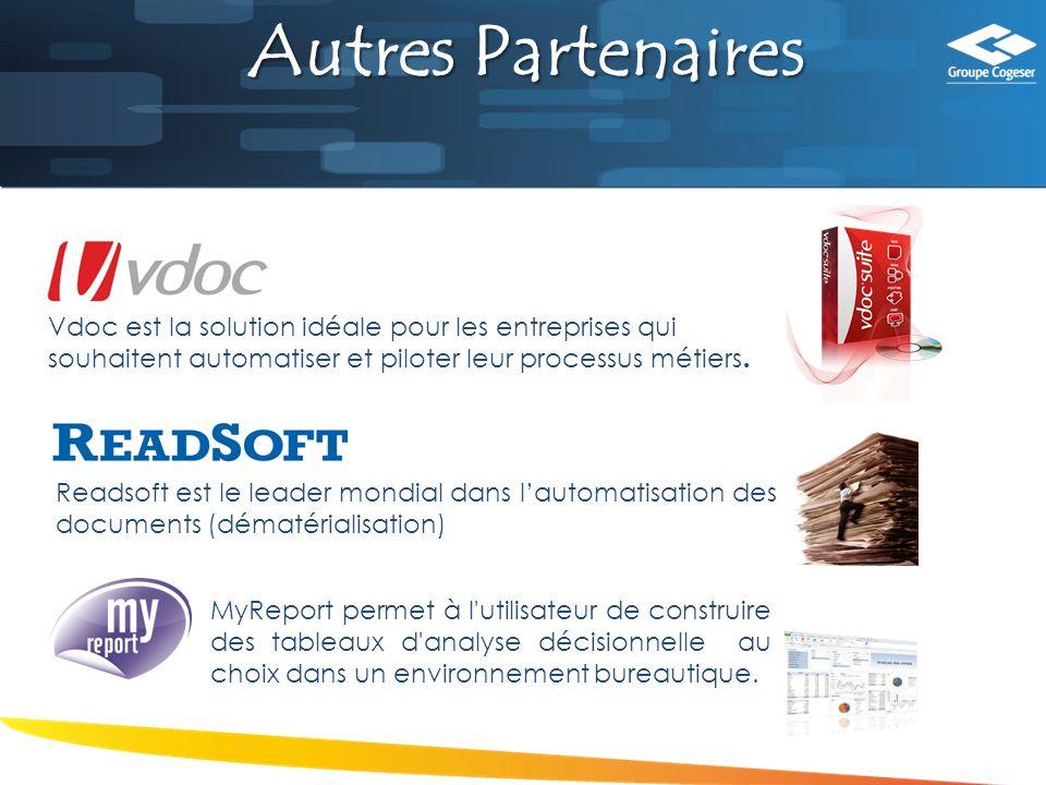 Autres Partenaires Readsoft est le leader mondial dans lautomatisation des documents (dématérialisation) MyReport permet à l utilisateur de construire des tableaux d analyse décisionnelle au choix dans un environnement bureautique.