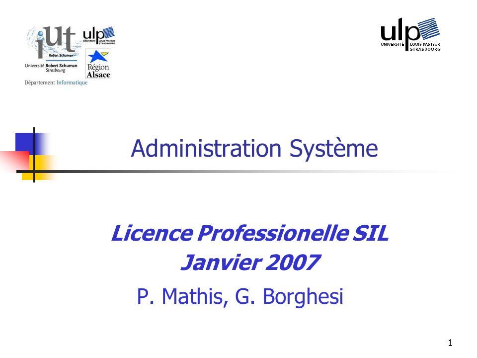 Licence pro SIL - 200742 Structure des répertoires Répertoire = fichier contenant une liste de couples : nom fichier + n° inode Répertoire racine : par convention numéro dinode 2