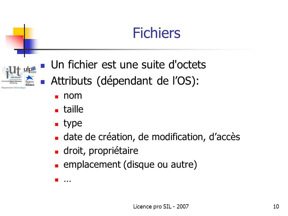 Licence pro SIL - 200710 Fichiers Un fichier est une suite d octets Attributs (dépendant de lOS): nom taille type date de création, de modification, daccès droit, propriétaire emplacement (disque ou autre) …