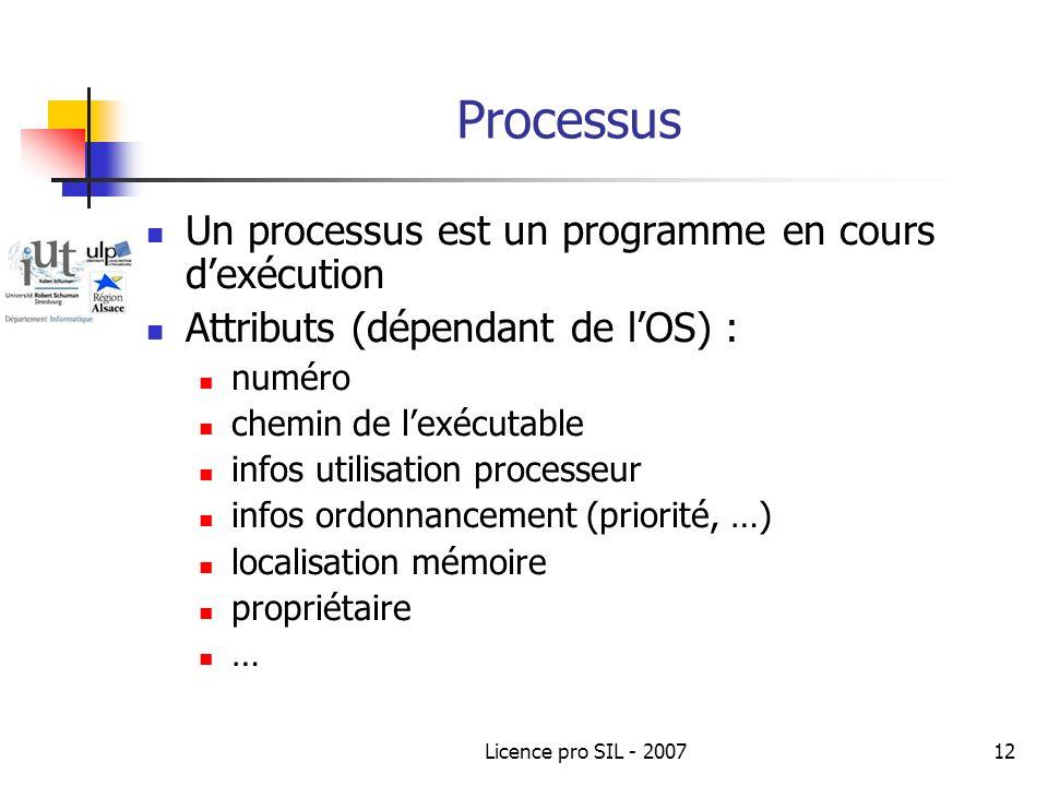 Licence pro SIL - 200712 Processus Un processus est un programme en cours dexécution Attributs (dépendant de lOS) : numéro chemin de lexécutable infos utilisation processeur infos ordonnancement (priorité, …) localisation mémoire propriétaire …