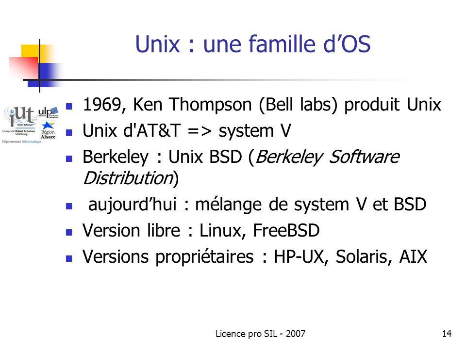 Licence pro SIL - 200714 Unix : une famille dOS 1969, Ken Thompson (Bell labs) produit Unix Unix d AT&T => system V Berkeley : Unix BSD (Berkeley Software Distribution) aujourdhui : mélange de system V et BSD Version libre : Linux, FreeBSD Versions propriétaires : HP-UX, Solaris, AIX