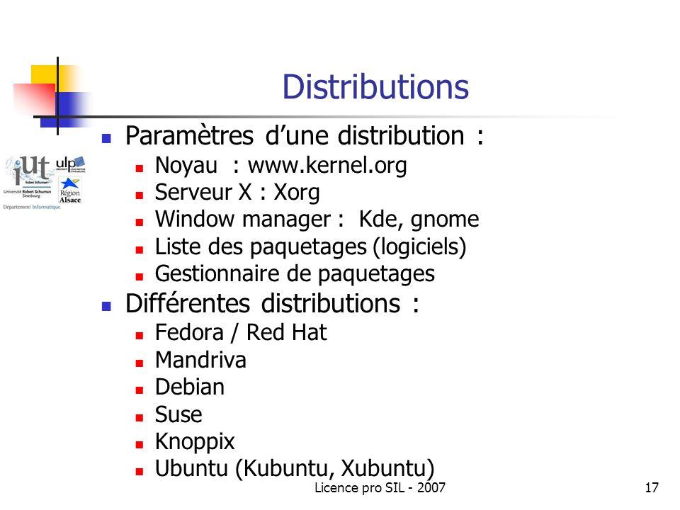 Licence pro SIL - 200717 Distributions Paramètres dune distribution : Noyau : www.kernel.org Serveur X : Xorg Window manager : Kde, gnome Liste des paquetages (logiciels) Gestionnaire de paquetages Différentes distributions : Fedora / Red Hat Mandriva Debian Suse Knoppix Ubuntu (Kubuntu, Xubuntu)