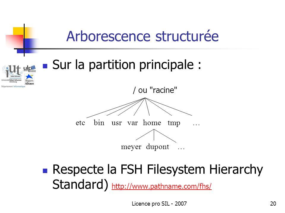 Licence pro SIL - 200720 Arborescence structurée Sur la partition principale : / ou racine Respecte la FSH Filesystem Hierarchy Standard) http://www.pathname.com/fhs/ http://www.pathname.com/fhs/ meyerdupont etcbinusrvartmphome… …