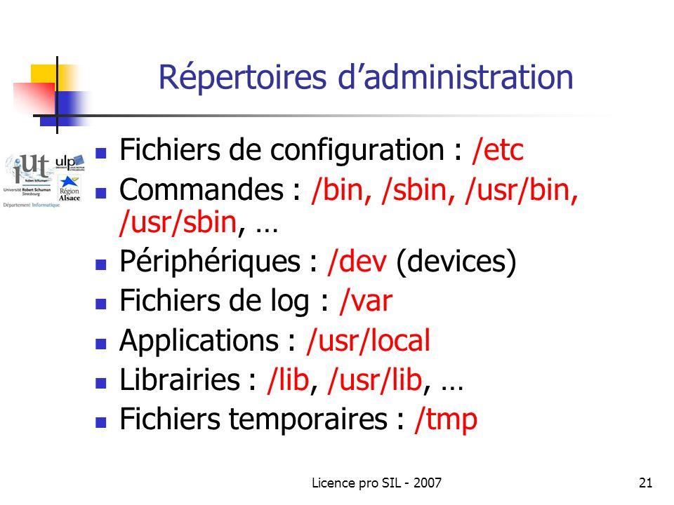Licence pro SIL - 200721 Répertoires dadministration Fichiers de configuration : /etc Commandes : /bin, /sbin, /usr/bin, /usr/sbin, … Périphériques : /dev (devices) Fichiers de log : /var Applications : /usr/local Librairies : /lib, /usr/lib, … Fichiers temporaires : /tmp