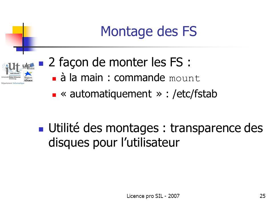Licence pro SIL - 200725 Montage des FS 2 façon de monter les FS : à la main : commande mount « automatiquement » : /etc/fstab Utilité des montages : transparence des disques pour lutilisateur