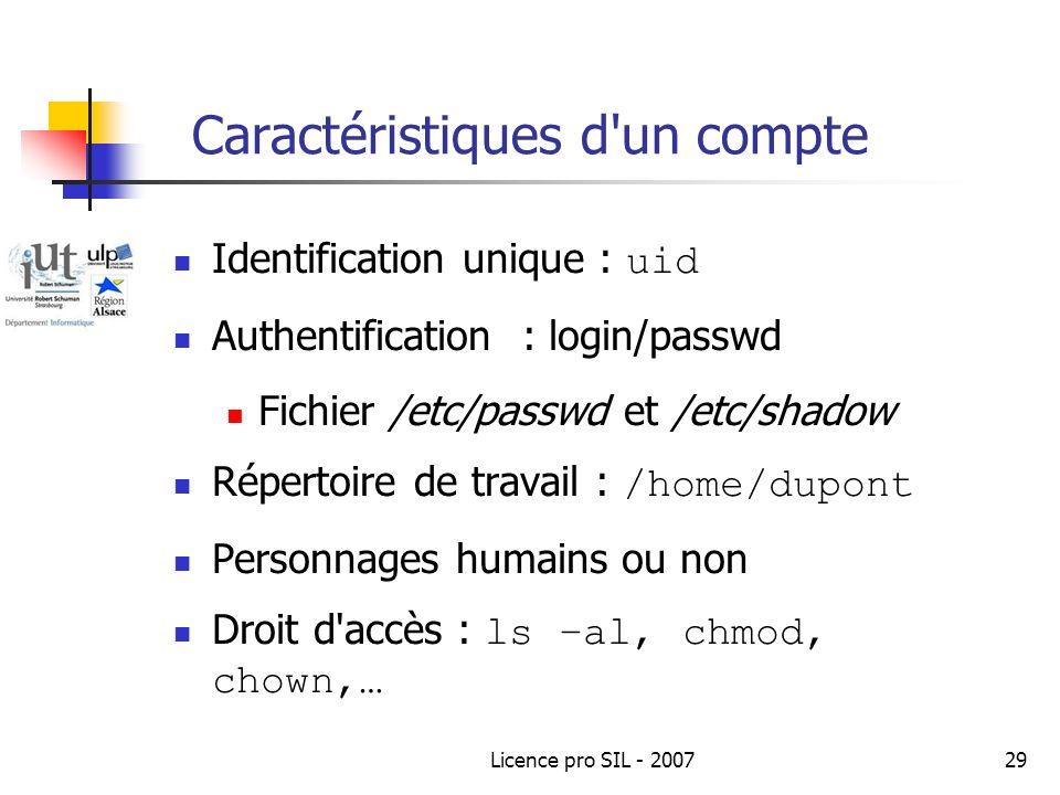 Licence pro SIL - 200729 Caractéristiques d un compte Identification unique : uid Authentification : login/passwd Fichier /etc/passwd et /etc/shadow Répertoire de travail : /home/dupont Personnages humains ou non Droit d accès : ls –al, chmod, chown,…