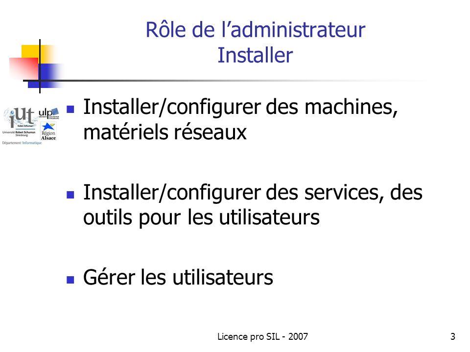 Licence pro SIL - 20073 Rôle de ladministrateur Installer Installer/configurer des machines, matériels réseaux Installer/configurer des services, des outils pour les utilisateurs Gérer les utilisateurs