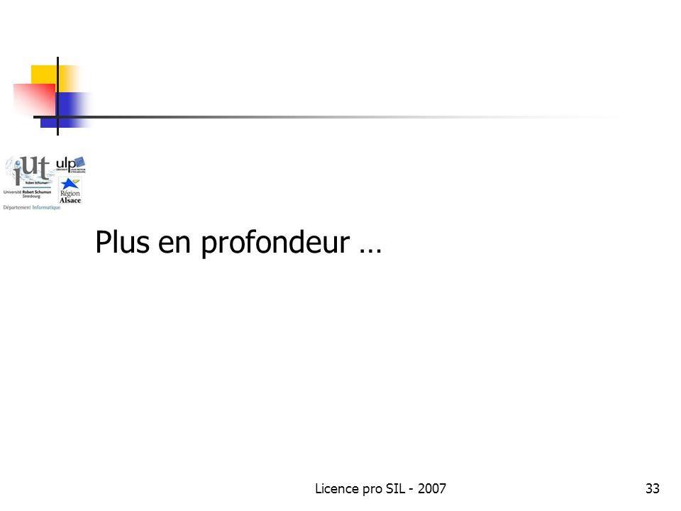 Licence pro SIL - 200733 Plus en profondeur …