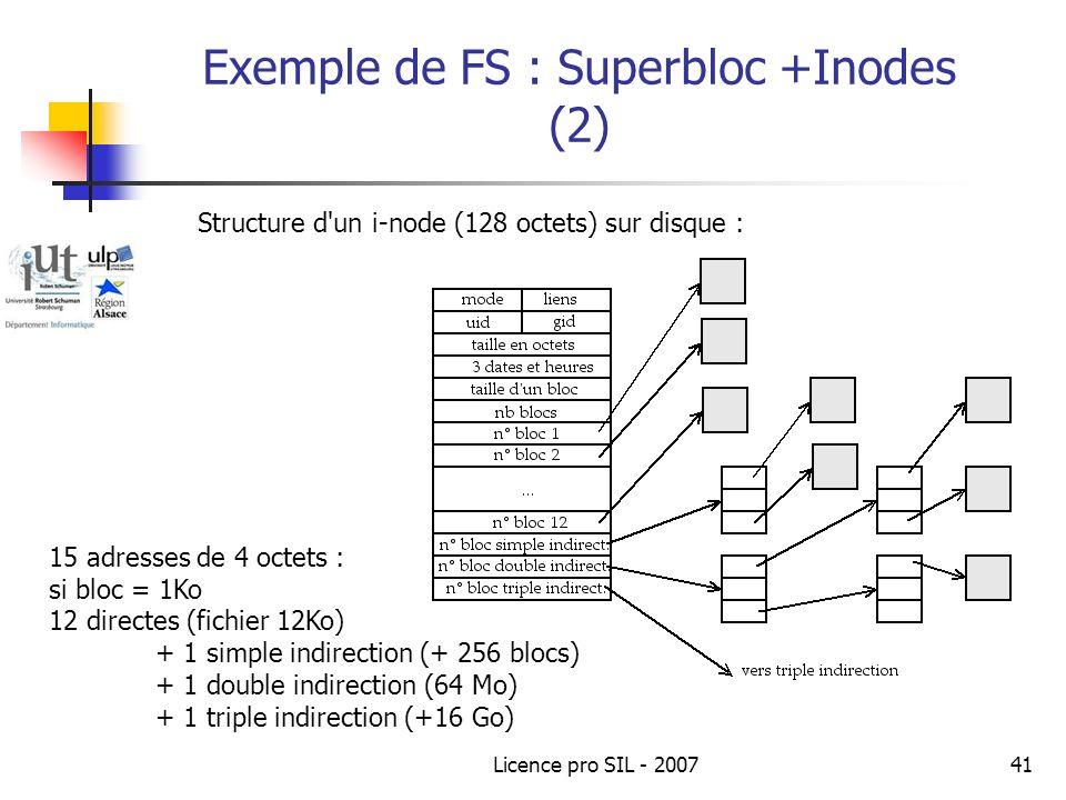 Licence pro SIL - 200741 Exemple de FS : Superbloc +Inodes (2) Structure d un i-node (128 octets) sur disque : 15 adresses de 4 octets : si bloc = 1Ko 12 directes (fichier 12Ko) + 1 simple indirection (+ 256 blocs) + 1 double indirection (64 Mo) + 1 triple indirection (+16 Go)