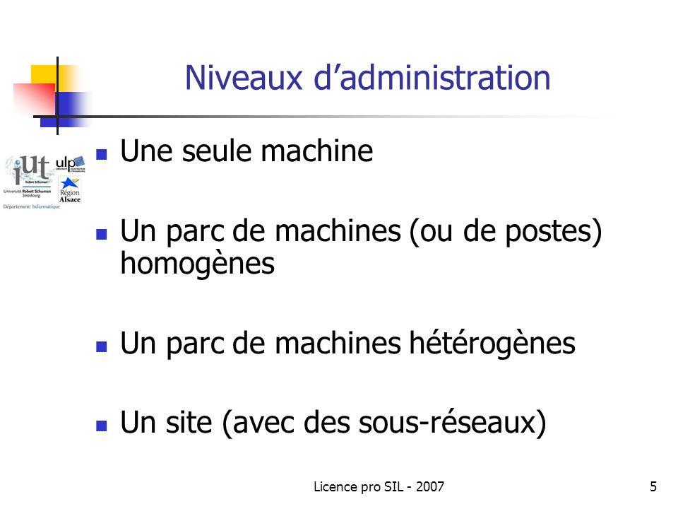 Licence pro SIL - 20075 Niveaux dadministration Une seule machine Un parc de machines (ou de postes) homogènes Un parc de machines hétérogènes Un site (avec des sous-réseaux)