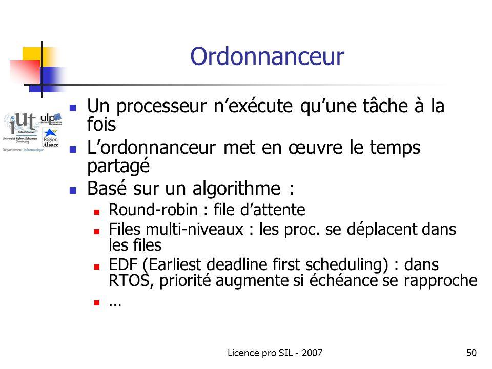 Licence pro SIL - 200750 Ordonnanceur Un processeur nexécute quune tâche à la fois Lordonnanceur met en œuvre le temps partagé Basé sur un algorithme : Round-robin : file dattente Files multi-niveaux : les proc.