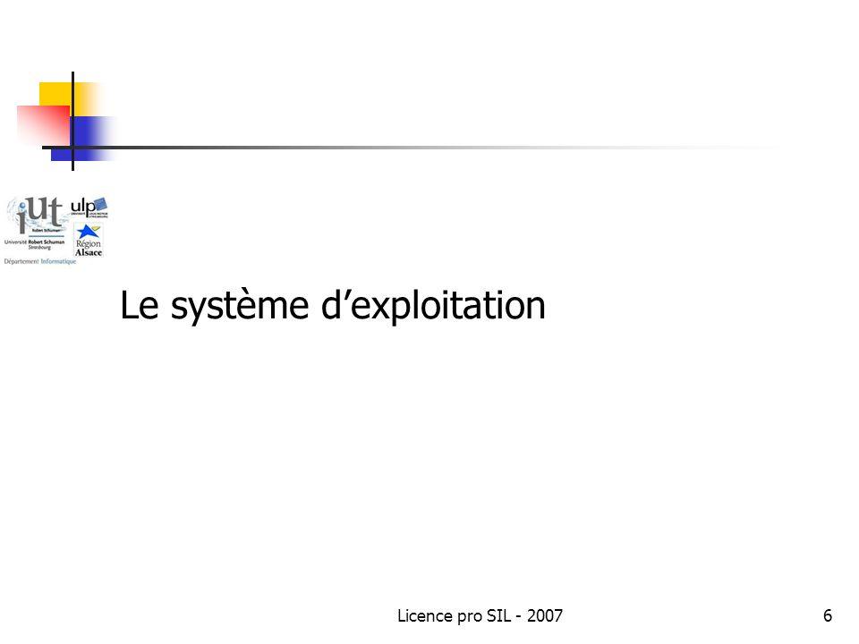 Licence pro SIL - 20076 Le système dexploitation