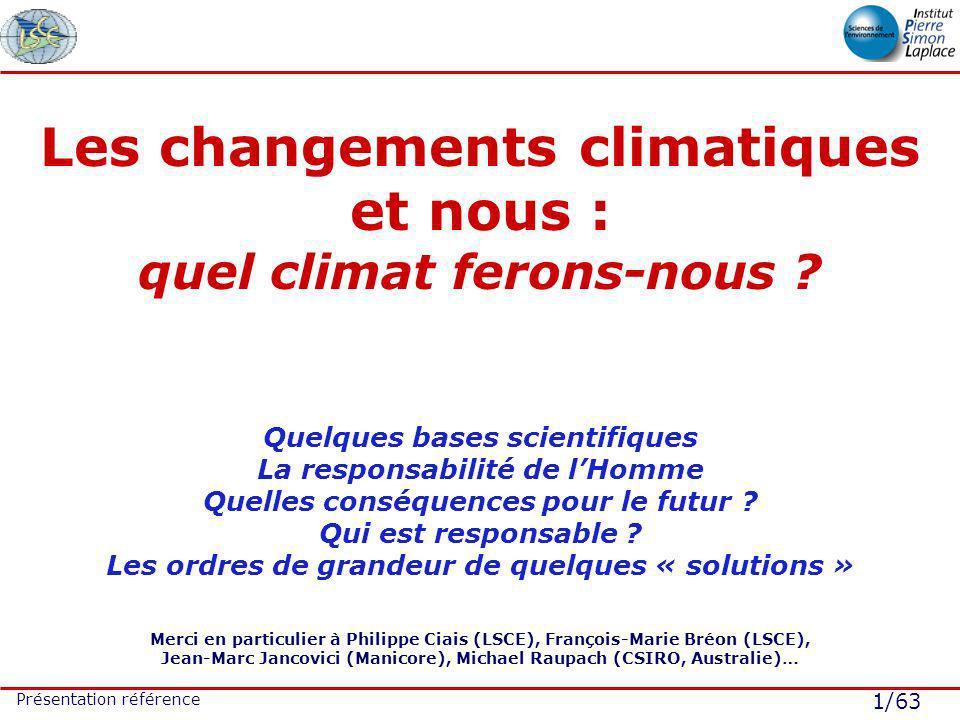 1/63 Présentation référence Les changements climatiques et nous : quel climat ferons-nous ? Quelques bases scientifiques La responsabilité de lHomme Q