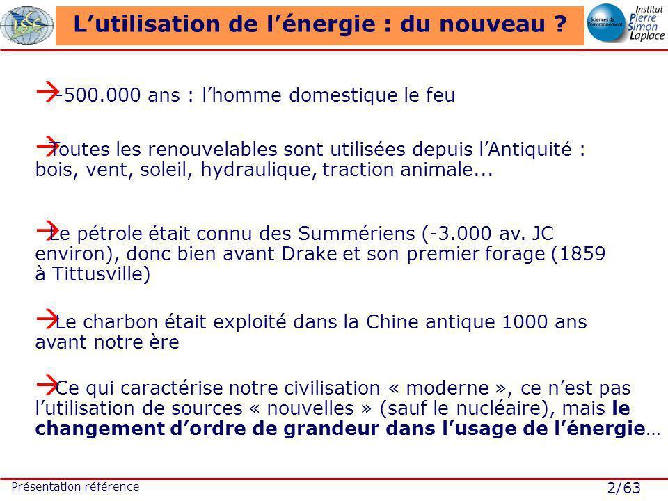 2/63 Présentation référence Lutilisation de lénergie : du nouveau ? -500.000 ans : lhomme domestique le feu Toutes les renouvelables sont utilisées de