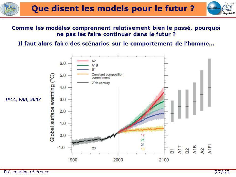 27/63 Présentation référence Que disent les models pour le futur ? IPCC, FAR, 2007 Comme les modèles comprennent relativement bien le passé, pourquoi