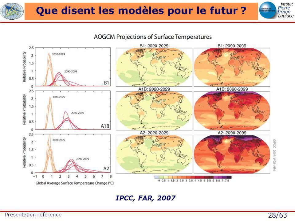 28/63 Présentation référence Que disent les modèles pour le futur ? IPCC, FAR, 2007
