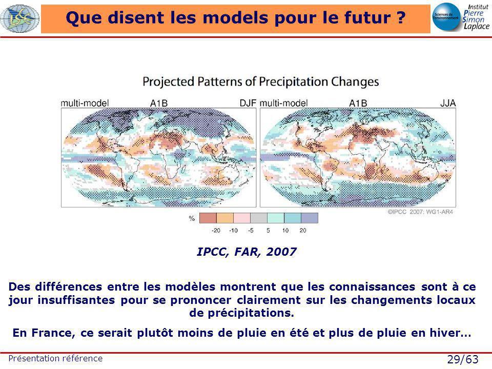 29/63 Présentation référence Que disent les models pour le futur ? IPCC, FAR, 2007 Des différences entre les modèles montrent que les connaissances so