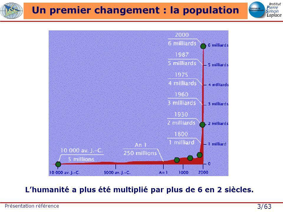 3/63 Présentation référence Un premier changement : la population Lhumanité a plus été multiplié par plus de 6 en 2 siècles.