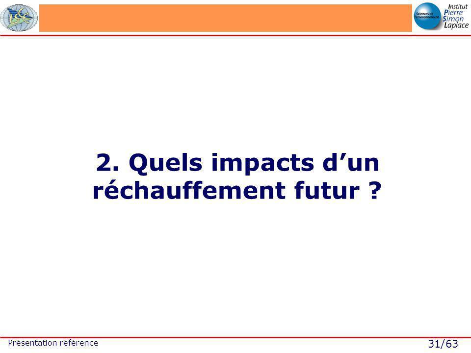 31/63 Présentation référence 2. Quels impacts dun réchauffement futur