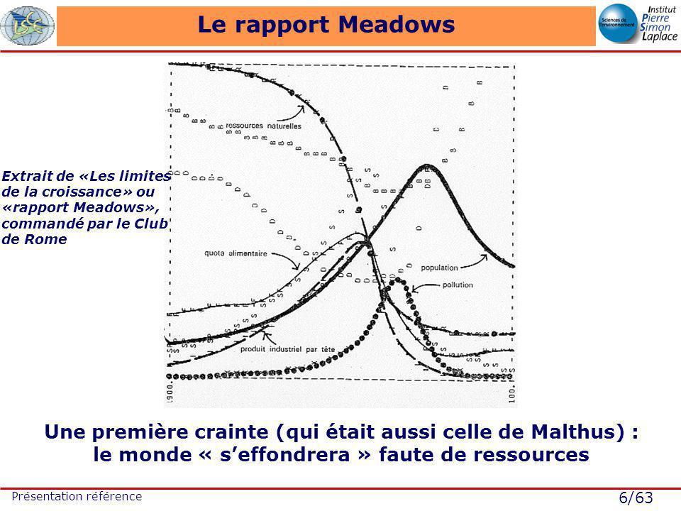 6/63 Présentation référence Le rapport Meadows Une première crainte (qui était aussi celle de Malthus) : le monde « seffondrera » faute de ressources Extrait de «Les limites de la croissance» ou «rapport Meadows», commandé par le Club de Rome