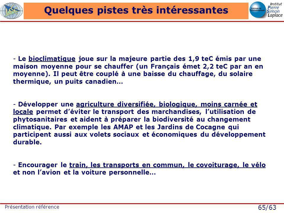 65/63 Présentation référence Quelques pistes très intéressantes - Le bioclimatique joue sur la majeure partie des 1,9 teC émis par une maison moyenne pour se chauffer (un Français émet 2,2 teC par an en moyenne).