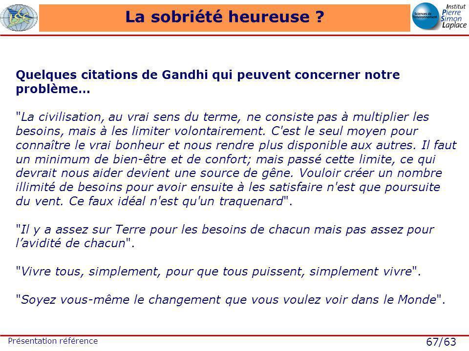 67/63 Présentation référence La sobriété heureuse .
