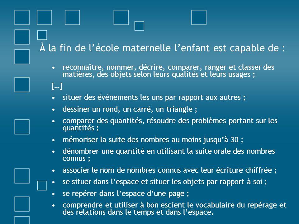 À la fin de lécole maternelle lenfant est capable de : reconnaître, nommer, décrire, comparer, ranger et classer des matières, des objets selon leurs