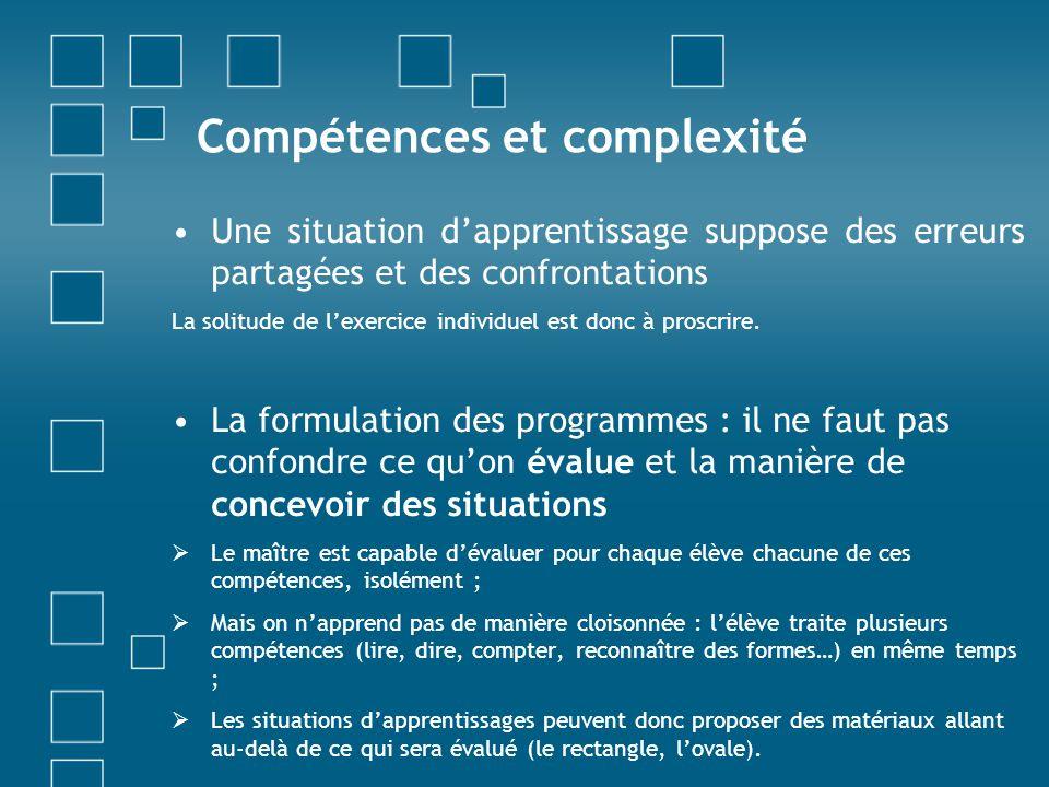 Compétences et complexité Une situation dapprentissage suppose des erreurs partagées et des confrontations La solitude de lexercice individuel est don