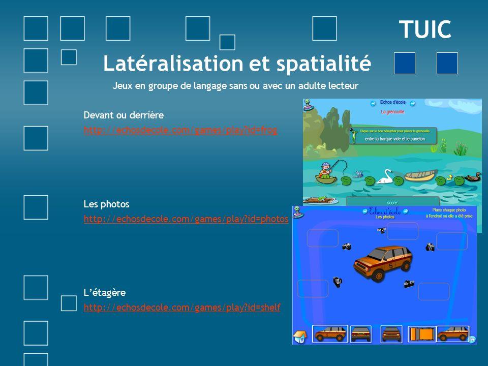 Latéralisation et spatialité Jeux en groupe de langage sans ou avec un adulte lecteur Devant ou derrière http://echosdecole.com/games/play?id=frog Les