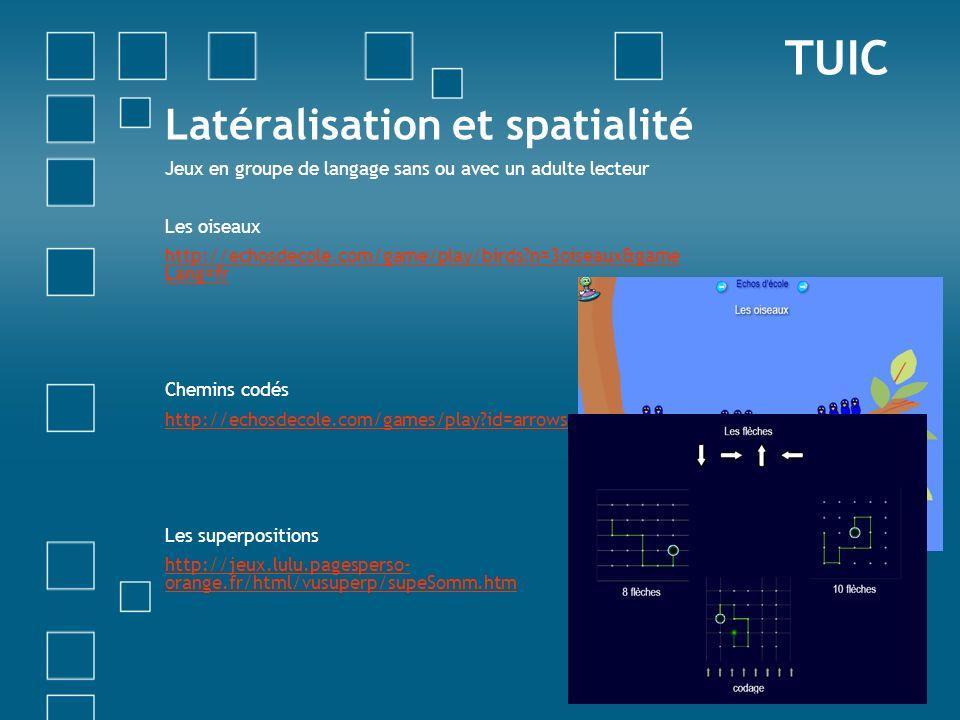 Latéralisation et spatialité Jeux en groupe de langage sans ou avec un adulte lecteur Les oiseaux http://echosdecole.com/game/play/birds?n=3oiseaux&ga