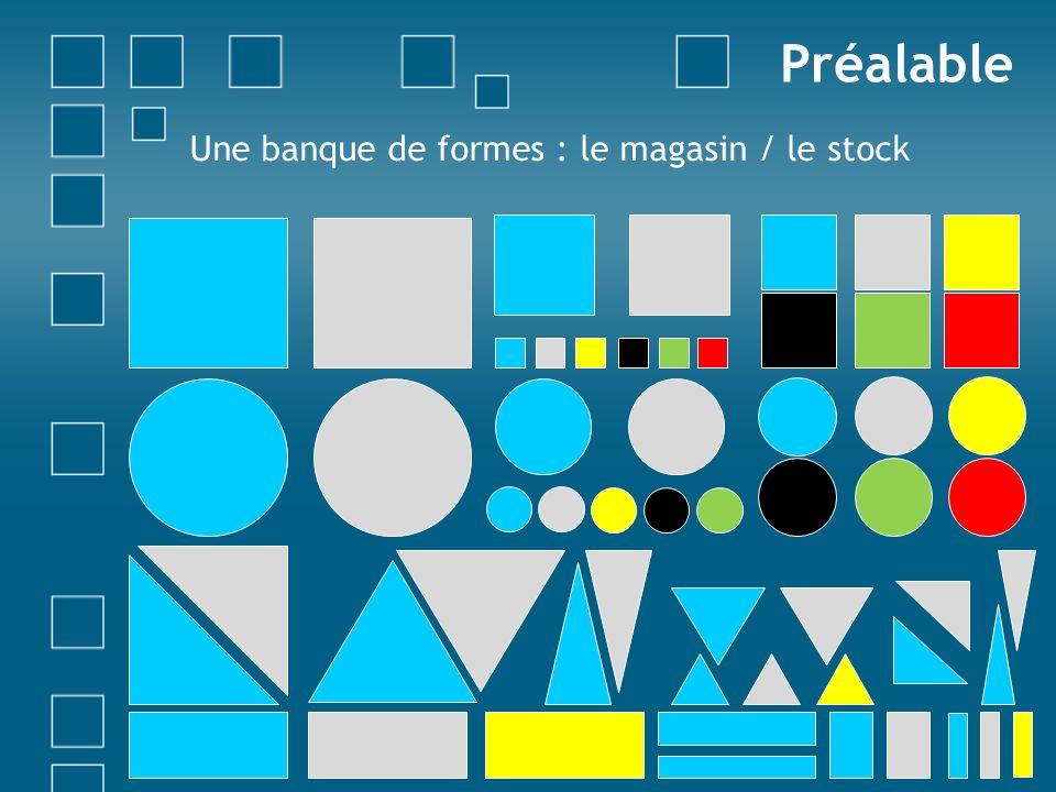 Une banque de formes : le magasin / le stock Préalable