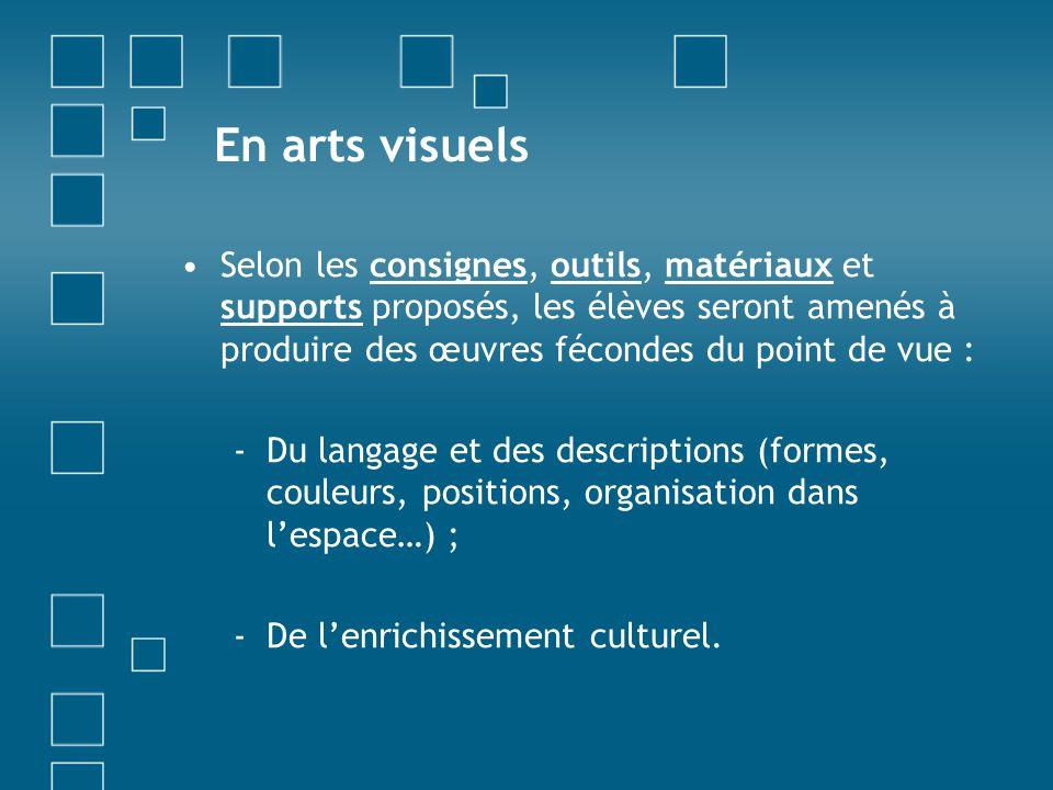 En arts visuels Selon les consignes, outils, matériaux et supports proposés, les élèves seront amenés à produire des œuvres fécondes du point de vue :