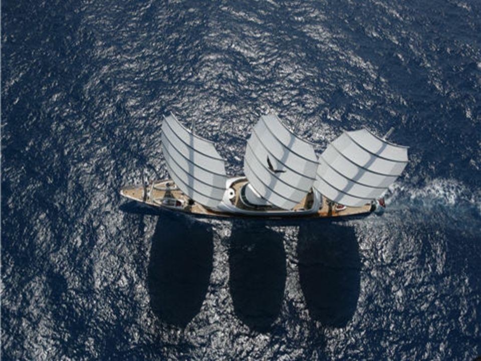 Trois mâts rotatifs Ce voilier de 88 mètres comporte trois mâts rotatifs sans précédent et 2400 mètres carrés de voiles. Il présente des performances