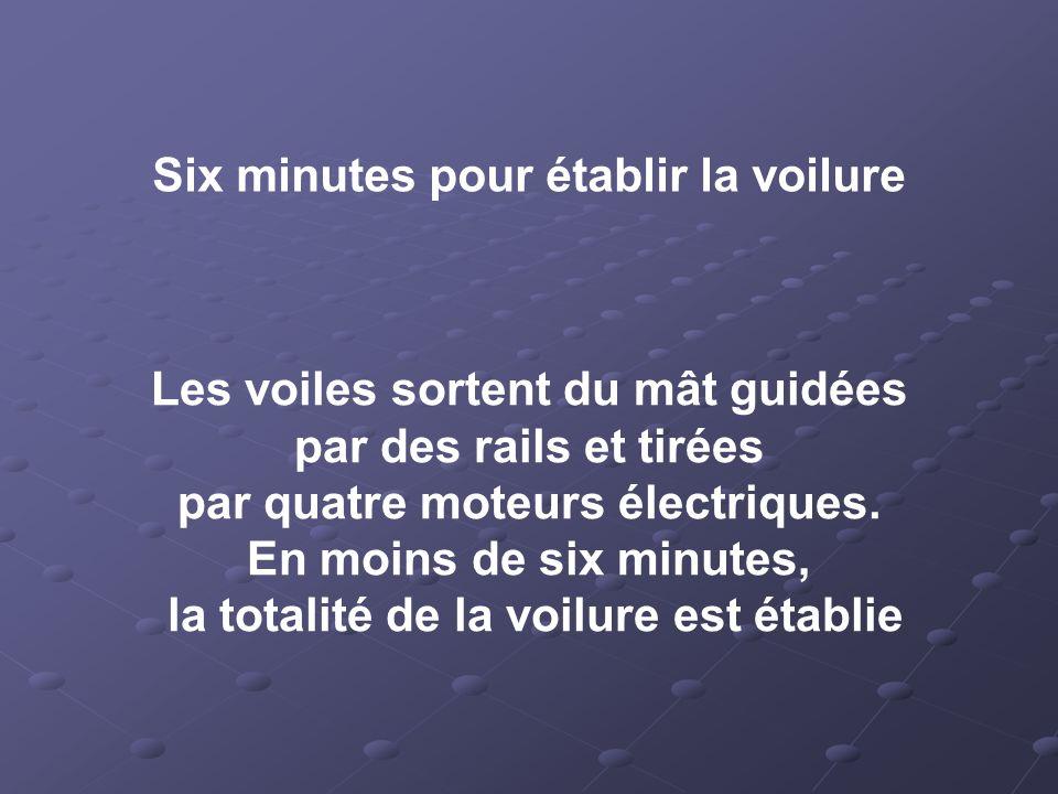 Six minutes pour établir la voilure Les voiles sortent du mât guidées par des rails et tirées par quatre moteurs électriques.