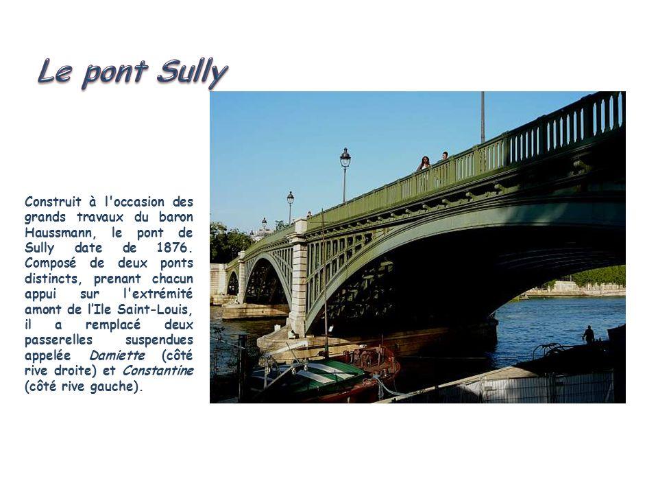 Dissymétrique, le pont de la Tournelle épouse volontairement les courbes suivies par la Seine à cet endroit. Lorigine de son nom est due à une tourell