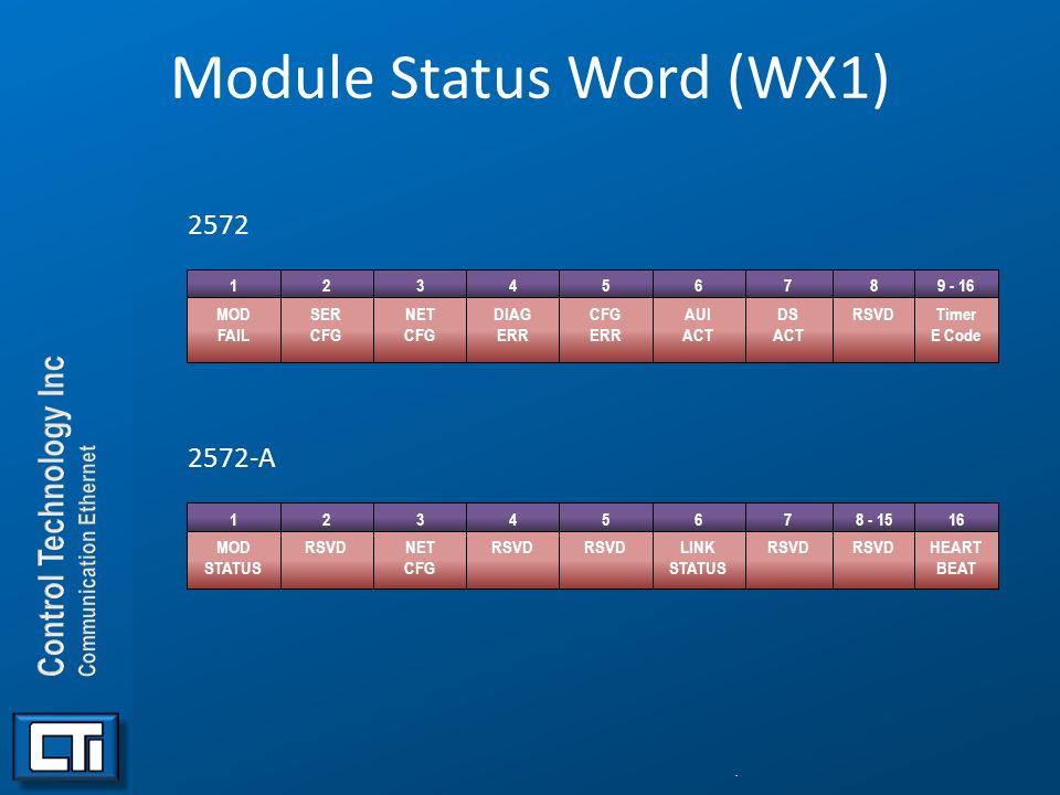 Module Status Word (WX1) 2572 2572-A. 123456789 - 16 MOD FAIL SER CFG NET CFG DIAG ERR CFG ERR AUI ACT DS ACT RSVDTimer E Code 12345678 - 1516 MOD STA