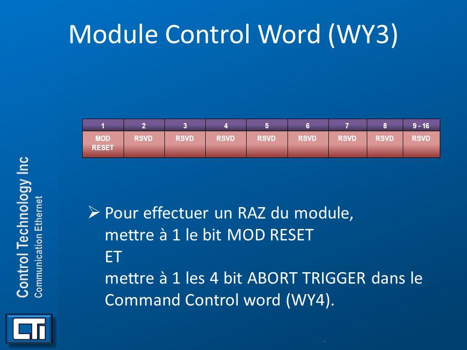 Module Control Word (WY3) Pour effectuer un RAZ du module, mettre à 1 le bit MOD RESET ET mettre à 1 les 4 bit ABORT TRIGGER dans le Command Control w