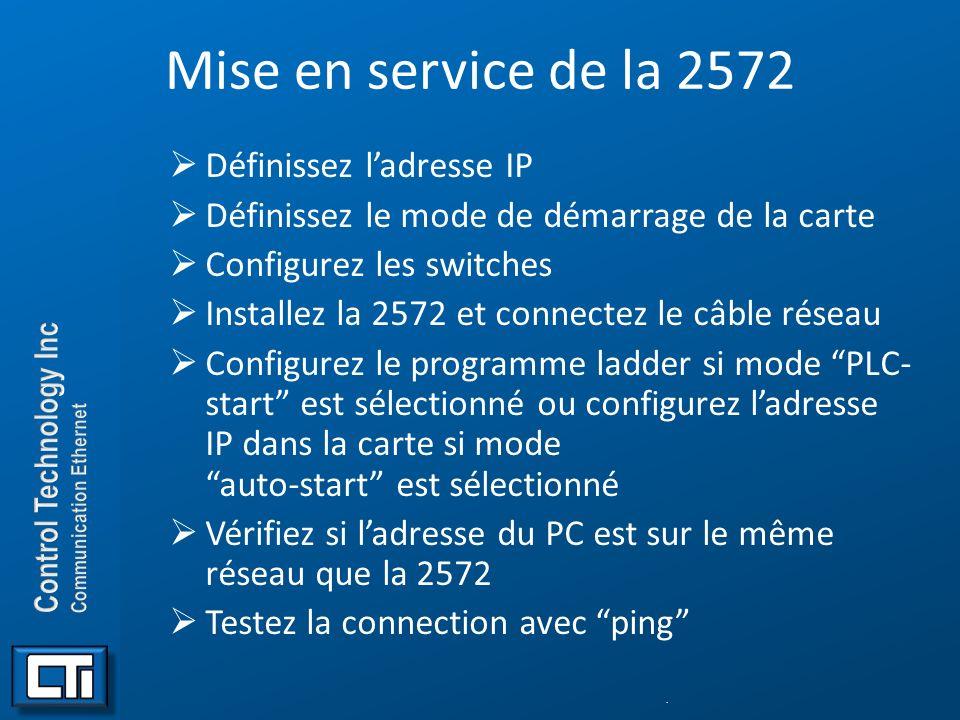 Mise en service de la 2572 Définissez ladresse IP Définissez le mode de démarrage de la carte Configurez les switches Installez la 2572 et connectez l