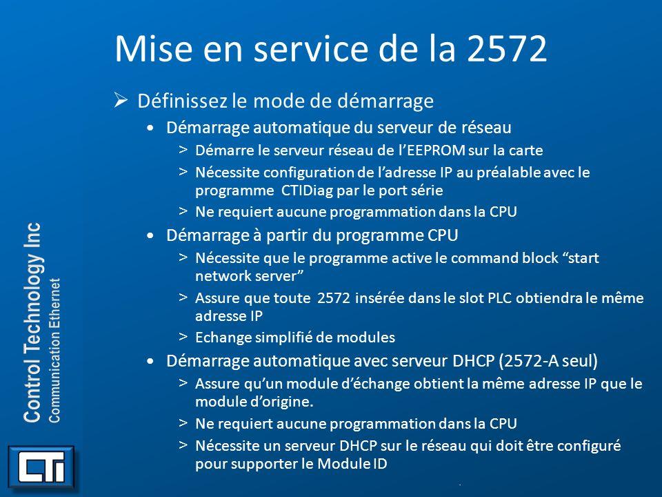 Mise en service de la 2572 Définissez le mode de démarrage Démarrage automatique du serveur de réseau >Démarre le serveur réseau de lEEPROM sur la car