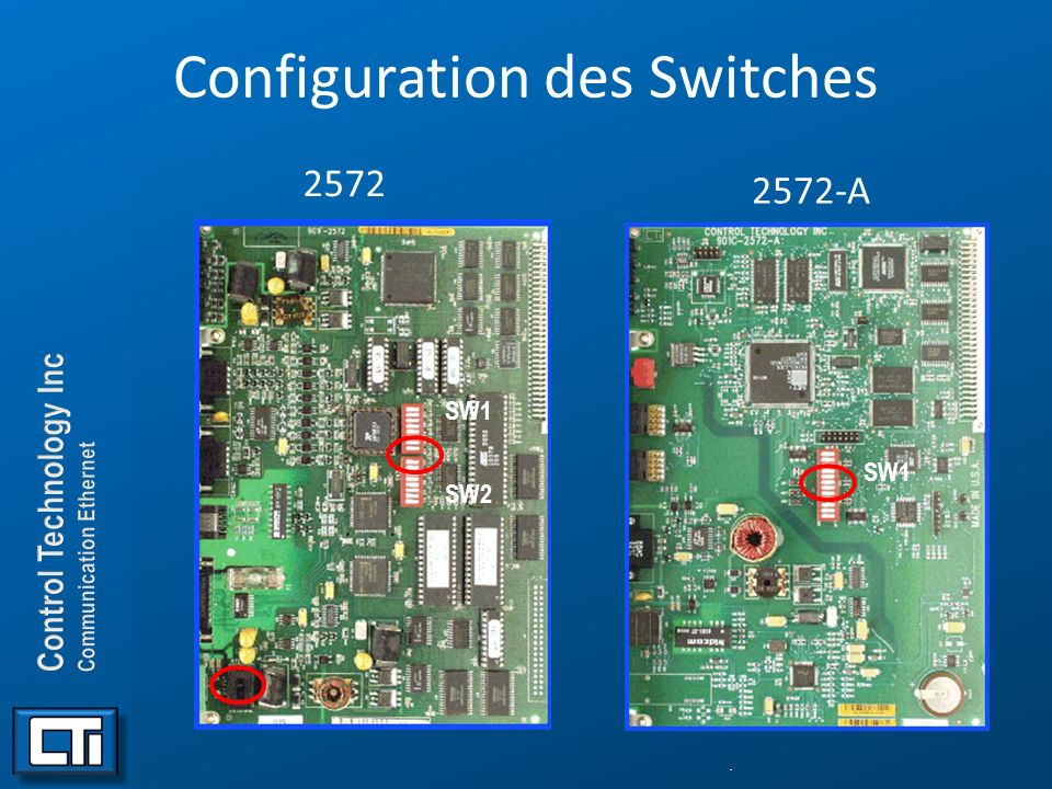 . Configuration des Switches 2572. SW1 SW2 2572-A