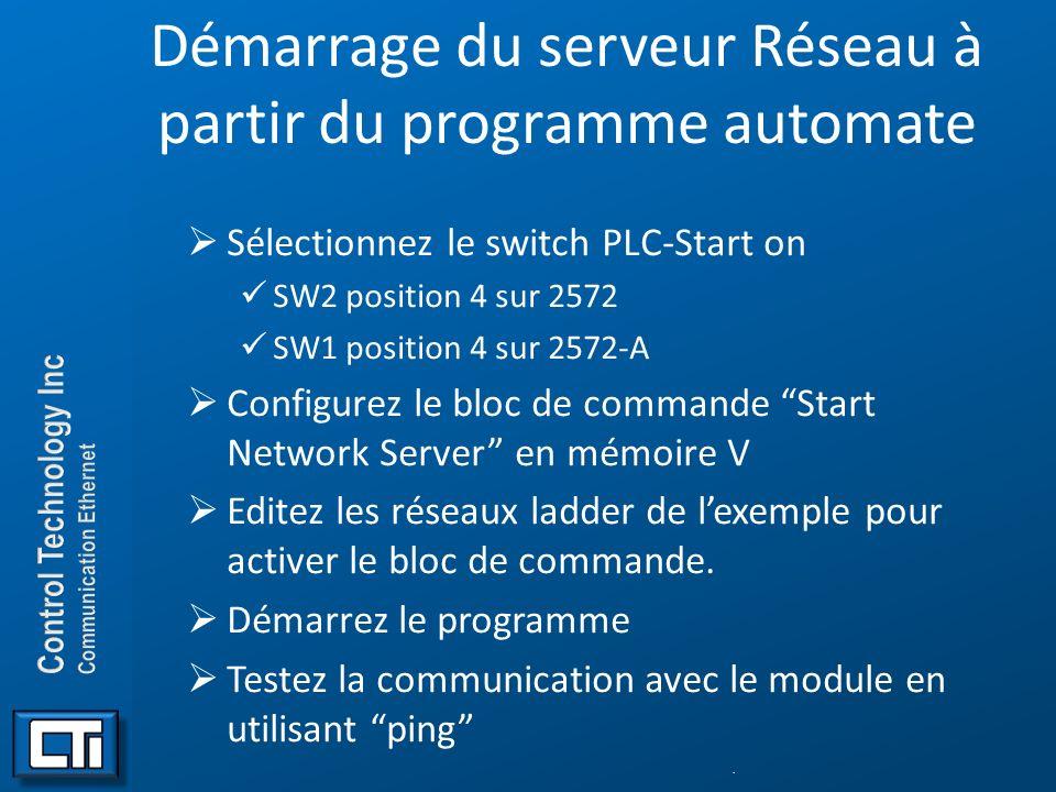 Démarrage du serveur Réseau à partir du programme automate Sélectionnez le switch PLC-Start on SW2 position 4 sur 2572 SW1 position 4 sur 2572-A Confi