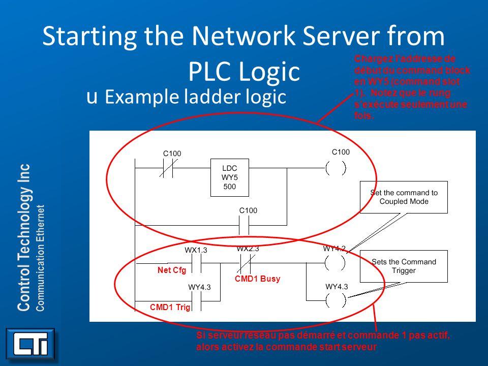 Starting the Network Server from PLC Logic uExample ladder logic. Chargez laddresse de début du command block en WY5 (command slot 1). Notez que le ru