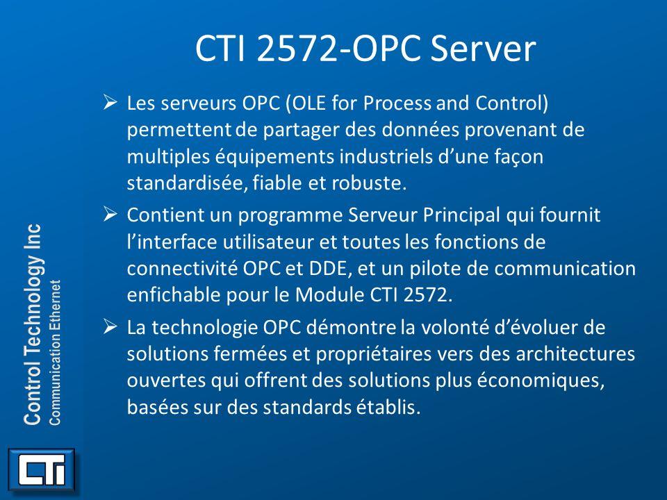 CTI 2572-OPC Server Les serveurs OPC (OLE for Process and Control) permettent de partager des données provenant de multiples équipements industriels d
