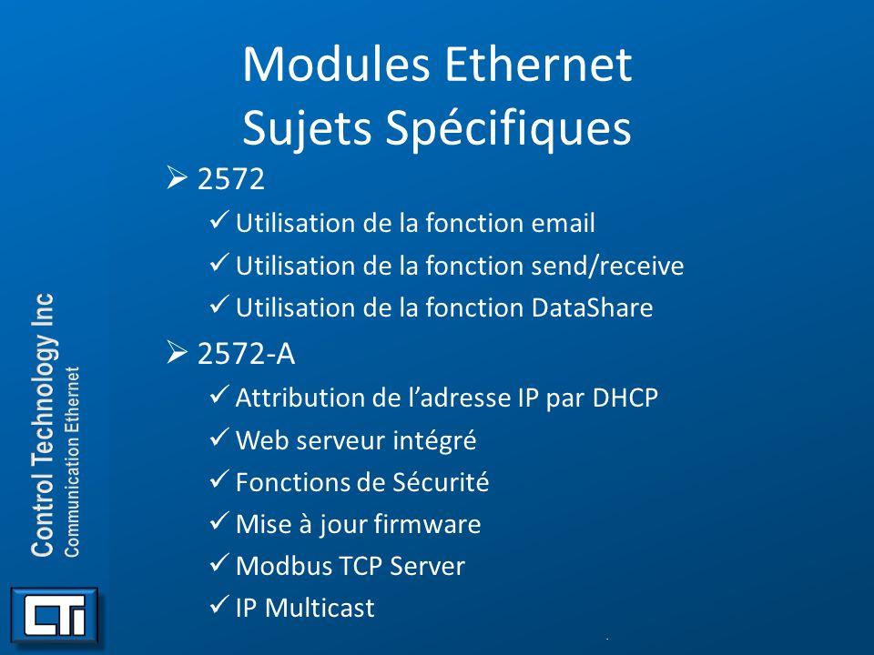 Modules Ethernet Sujets Spécifiques 2572 Utilisation de la fonction email Utilisation de la fonction send/receive Utilisation de la fonction DataShare