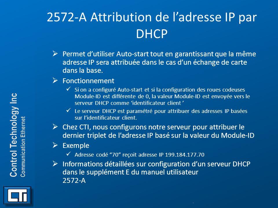 2572-A Attribution de ladresse IP par DHCP Permet dutiliser Auto-start tout en garantissant que la même adresse IP sera attribuée dans le cas dun écha