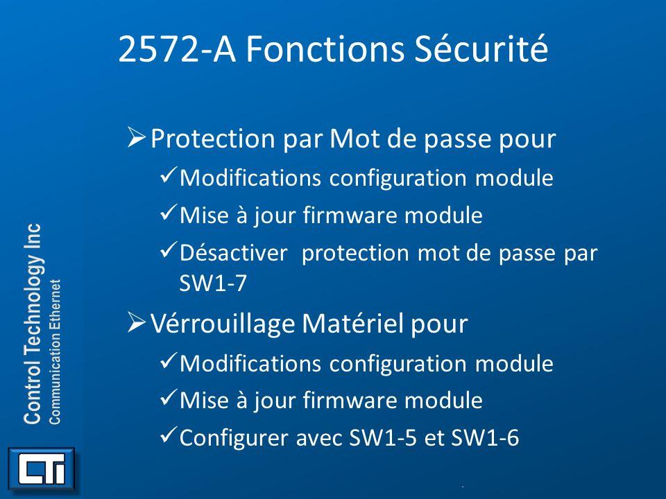 2572-A Fonctions Sécurité Protection par Mot de passe pour Modifications configuration module Mise à jour firmware module Désactiver protection mot de