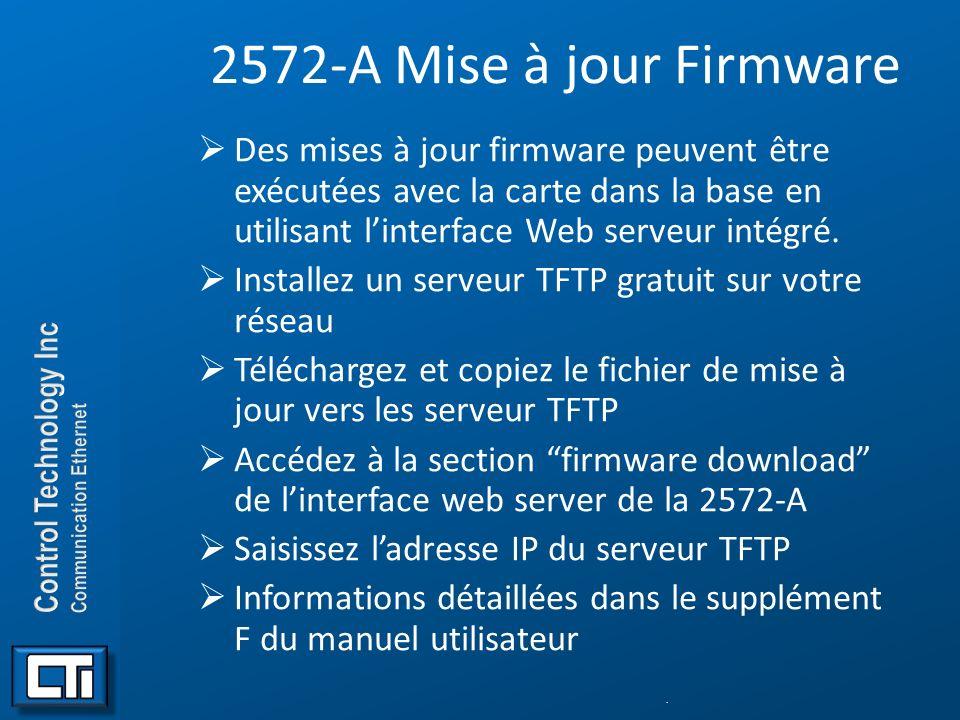 2572-A Mise à jour Firmware Des mises à jour firmware peuvent être exécutées avec la carte dans la base en utilisant linterface Web serveur intégré. I